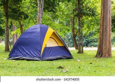 Dome tent camping at Bang Krang Camp in Kaeng Krachan National Park, Thailand
