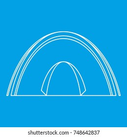 Dome tent icon blue outline style isolated  illustration. Thin line sign