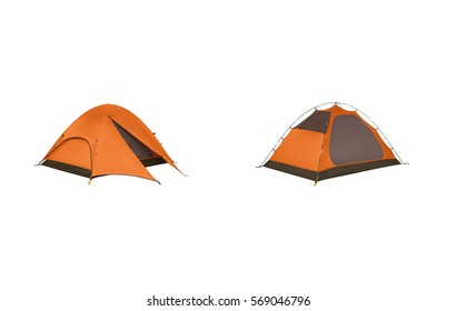Dome tent, isolated on white background with clipping path. Dome tents of tourist in forest. Clean newc tent isolated with clipping path
