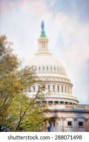 The dome of the United States Capitol building in Washington DC featuring the bronze statue of freedom by artist Thomas Crawford. This is a computer generated image from a photograph.