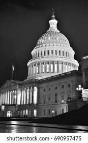 Dome of the United States Capitol at Night (Black and White) - Washington D.C. , USA