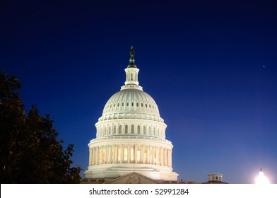 The dome of the US Capitol building at twilight