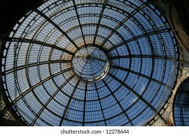 The dome of the wonderful gallery Vittorio Emanuele between the duomo and P.za della Scala in Milan (Italy).