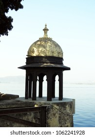 Domed pavilions beside Pichola Lake, City Palace, Udaipur, Rajasthan State, India