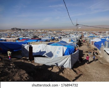 DOMEEZ REFUGEE CAMP, DOHUK / DUHOK, KURDISTAN, IRAQ - 2013 DECEMBER 1 - This camp shelters more than sixty thousand syrian refugees and is still growing