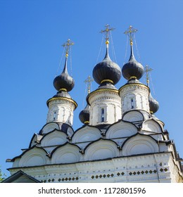 Domes of ancient Lazarevsky church, it is constructed in 1667. Suzdal. Russia