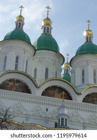 Domes of the assumption Cathedral of the Astrakhan Kremlin.Astrakhan.Russia