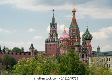 Domes of the Cathedral and Spasskaya tower of the Kremlin.