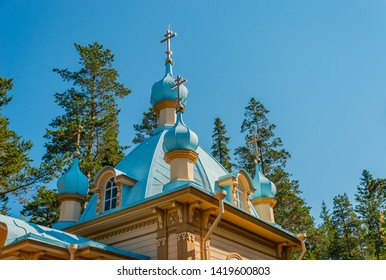 Domes of the Chapel of the Ascension of the Lord on Mount Eleon. Gethsemane skete of the Valaam Monastery. Valaam Island, Karelia, Russia.