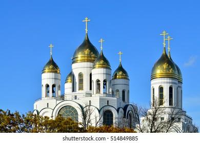 Domes of church Christ the Savior. Kaliningrad, Russia