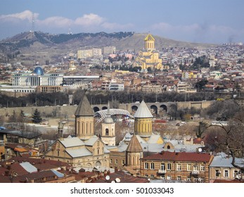Domes of churches in Old Tbilisi, Georgia
