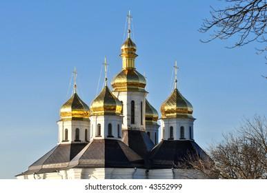 Domes of the Ekaterynynskoy church in town Chernigov, Ukraine