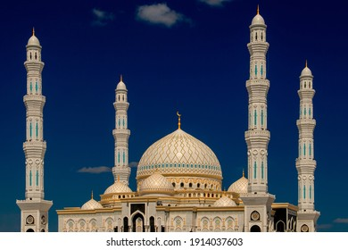 Domes and minarets. Mosque design by Islamic religious architectural traditions. Islamic background Mosque. Beautiful Landscape mosque. Kazakhstan. Central Asia.