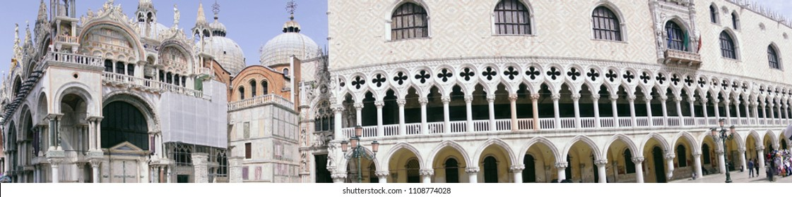 Domes of San Marco and the Doge's Palace in the Piazza of Venice, Italy