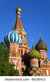Domes of St. Basil's Cathedral (Pokrovsky Cathedral) in Moscow.