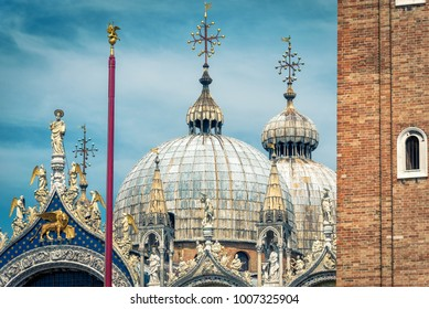 Domes of St Mark's Basilica (San Marco) in Venice, Italy. It is the main travel attraction of Venice. Best tourist place in Venice. Historical buildings of Venice.