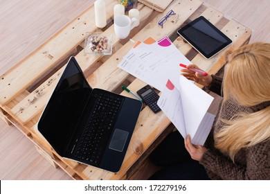 Domestic economy. Woman checking bills at home