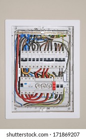 Domestic electrical distribution board, mounted on wall