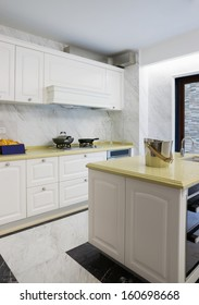 domestic kitchen with nice cabinet