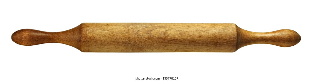 Domestic kitchen rolling pin made of wood isolated on white