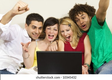 domestic life: group of friends having fun