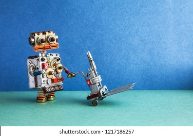 Domestic robot delivery service automation logistic concept. Friendly robotic character moving pushcart mechanism. Blue wall, green floor background. copy space.