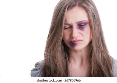 Domestic violence victim concept with a beaten woman portrait