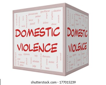 Domestic Violence Word Cloud Concept on a 3D cube Whiteboard with great terms such as victim, assault, judge, harm, social, education and more.