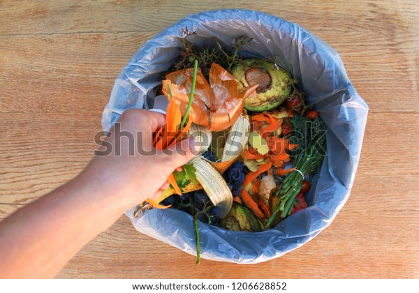 Déchets domestiques de compost à partir de fruits et légumes. Une femme jette des ordures.