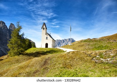 dominant mountain church in dolomites mountain