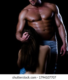 Dominant. Sexy lovers couple. Dominant man. Sensual man with sexy woman. Domination and Submission. Lovers secrets. Passion and sensual touch. Dominant man
