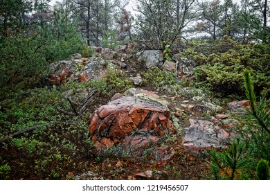 The dominent rock formation in Killarney Provincial Park in Northern Ontario is pink granite, although the west side of the Park also features prominent outcroppings of white quartzite.