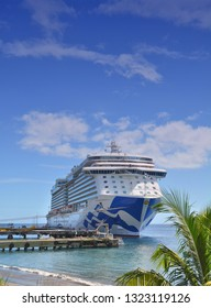 DOMINICA, CARIBBEAN - MARCH 24, 2017 : Royal Princess ship docked in Roseau port. Royal Princess is operated by Princess Cruises line.