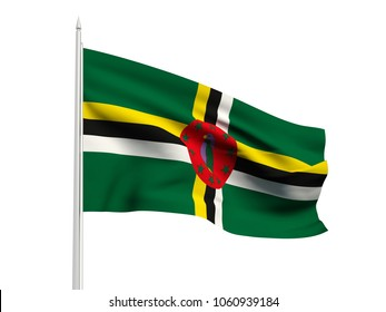 Dominica flag floating in the wind with a White sky background. 3D illustration.