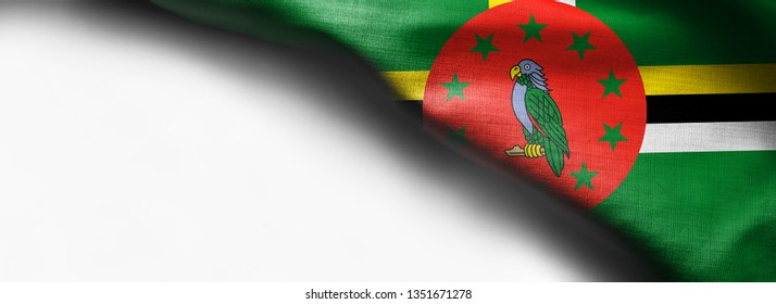 Dominica Flag waving on white background - right top corner flag