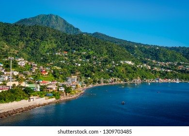 Dominica landscape with Caribbean Sea and mountains.