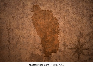 dominica map on a old vintage crack paper background
