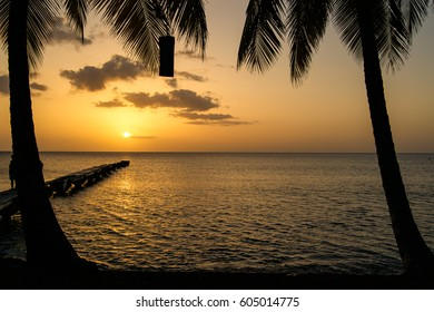 Dominica sunset with palm trees and pier over the caribbean sea and cloudy sky/Dominica Island Sunset and Pier