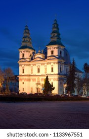 Dominican Church at the night. Ternopil, Ukraine