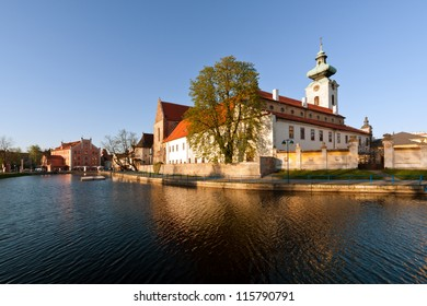 Dominican convent on the bank of Malse river in Ceske Budejovice in the South Bohemia,  Czech Republic