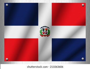 Dominican flag patterns on the steel plate.