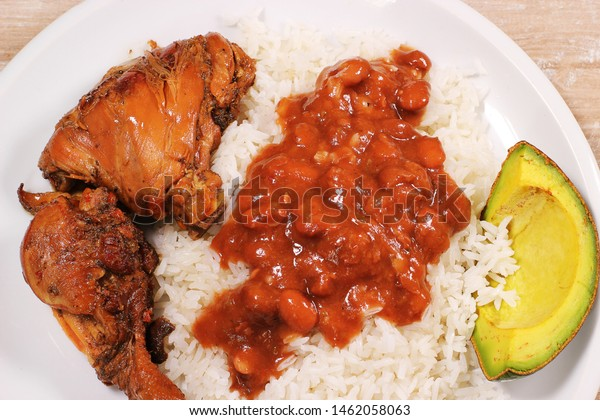 Dominican Food Rice Beans Meat Typical Stock Photo Edit Now 1462058063