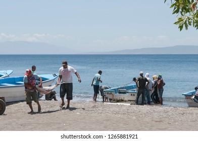 Dominican Republic- 5 april 2016: mans fishing