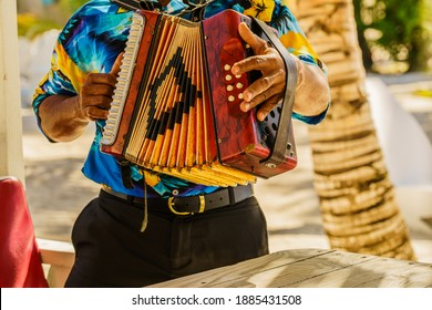 Dominican Republic. The beach musician plays the accordion. Hand plays accordions close-up. Accordionist. Dominican people.