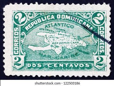 DOMINICAN REPUBLIC - CIRCA 1900: a stamp printed in Dominican Republic shows Map of Hispaniola, circa 1900