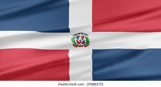 Dominican Republic Flag. Flag with a beautiful glossy silk texture.