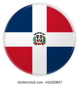 Dominican Republic Flag Button, News Concept Badge, 3d illustration on white background