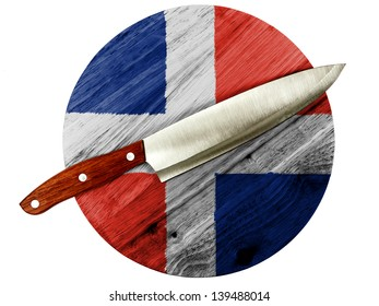 The Dominican Republic flag  painted on wooden board with knife