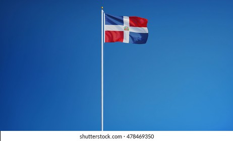 Dominican Republic flag waving against clean blue sky, long shot, isolated with clipping path mask alpha channel transparency
