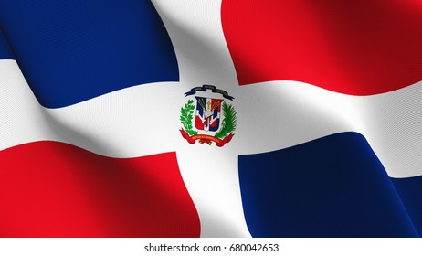 Dominican Republic flag waving on wind.
